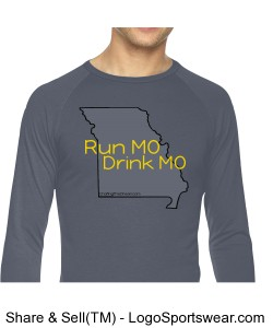 Run MO, Drink MO, Pigment Dyed Mens True Spirit Raglan T-Shirt Design Zoom